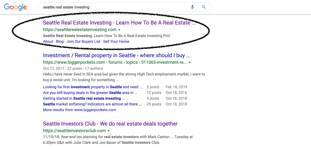 Getting ranked by Google like Seattle Real Estate Investing.  If you want the best real estate website, you need to get ranked.